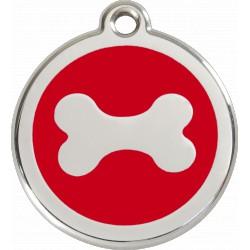 Médaille Os horizontal Red Dingo en acier inox émaillé.