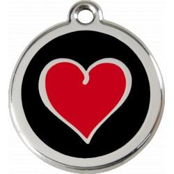 Médaille DUO de coeurs Red Dingo en acier inox émaillé.