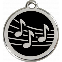 MEDAILLE pourCHIEN ou CHAT RED DINGO ACIER INOX NOTES DE MUSIQUE NOIR