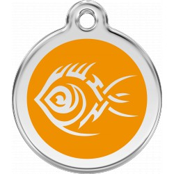 MEDAILLE pour CHIEN ou CHAT RED DINGO ACIER INOX A THEMES POISSON TRIBAL ORANGE