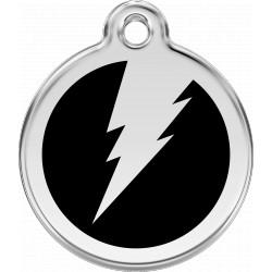 Médaille Eclair Red Dingo en acier inox émaillé.