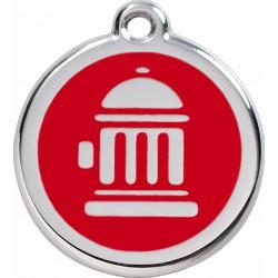 Médaille Borne d'incendie Red Dingo en acier inox émaillé.