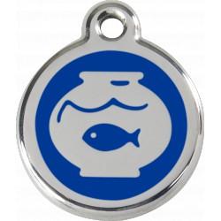 Médaille Bocal poisson Red Dingo en acier inox émaillé.
