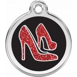 MEDAILLE CHIEN CHAT ACIER PAILLETEE Médaille Divers Red Dingo en acier émaillé pailleté.