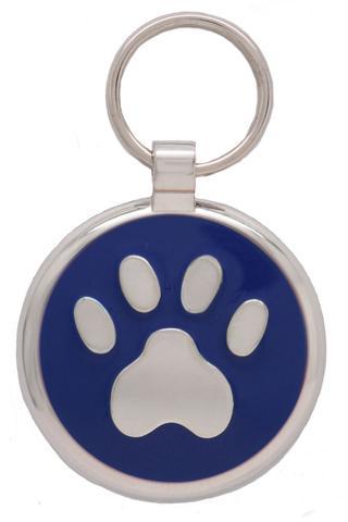 médaille gravée patte pour chien bleue