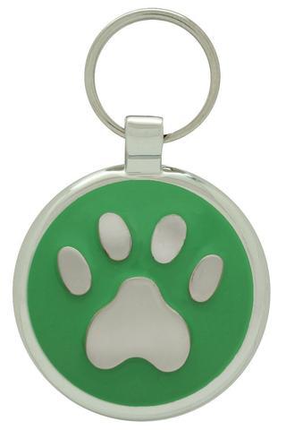 médaille gravée patte pour chien verte