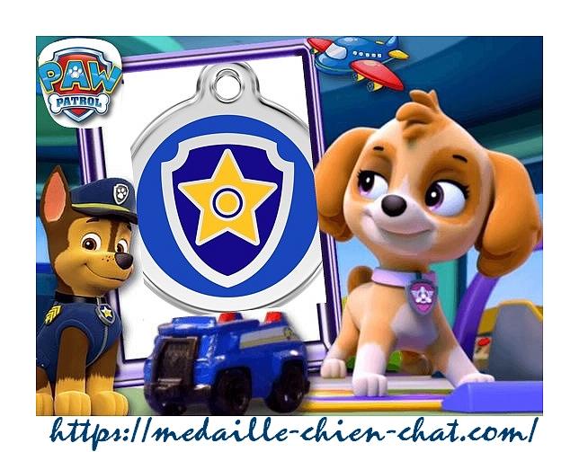 médailles gravées pour chiens et chat la pat'patrouille