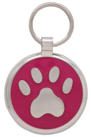médaillegravée patte pour chien fuschia