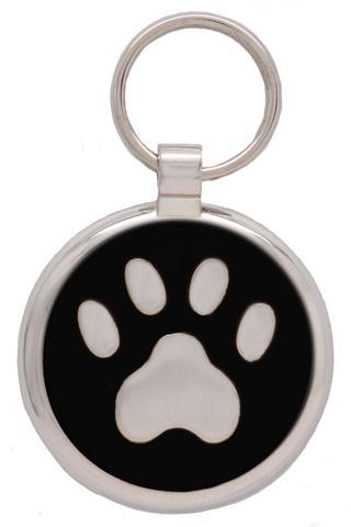 médaille gravée pour chien patte noire
