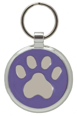 médaille gravée patte pour chien couleur lavande